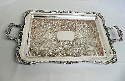 Antique Rogers & Bro 1791 Silverplate Waiters Handled Serving Tray HEAVY