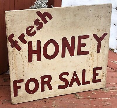Original Antique Honey For Sale Produce Farm Stand Trade Wood Sign Advertising