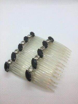 Jeweled hair combs pair Black stones with rhinestones