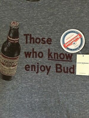 b5bfdedc63 Lucky Brand Men's L LARGE T-shirt NWT THOSE WHO KNOW ENJOY BUD BUDWEISER  BEER