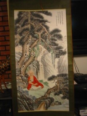 antique chinese or japanese scroll painting large colorful 70 in x 32 inch