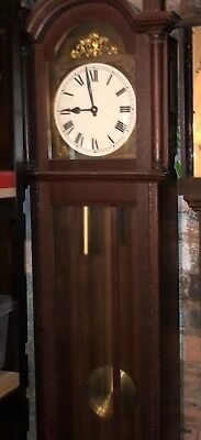 Antique Vintage Made German Crossed Arrows Tall Case Longcase Clock Time Strike