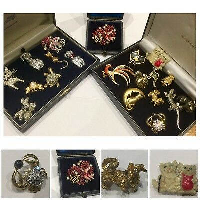 Job Lot Vintage Jewellery Brooches Signed SPHINX Pekingese Dog, Crystal Animals