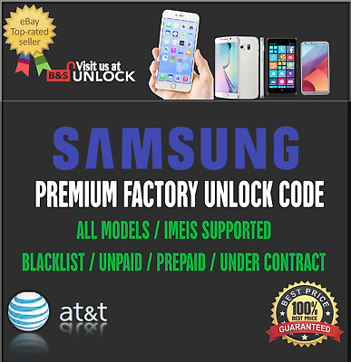Premium Unlock Code For At&t Samsung Galaxy S9 S9+ S8+ S7 S6 S5 Note | Active