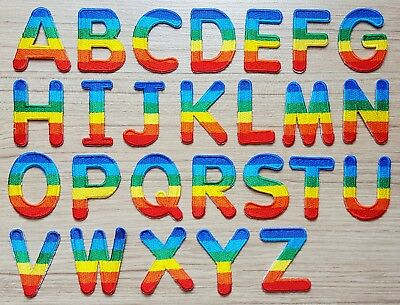 Rainbow Alphabet A-Z Letters Embroidered Patch Iron on Patch for T-Shirt Jeans