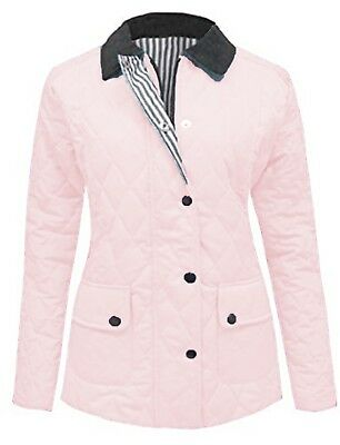 8b56a0010c8 New Ladies Size 14 16 Baby Pink Quilted Padded Zip Popper Jacket Women s  Coat