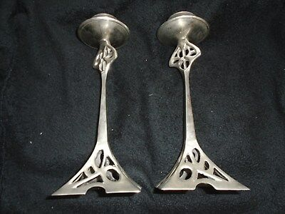 PAIR ART NOUVEAU STYLE BRUSHED ALUMINIUM CANDLE STICKS 25cm/10in