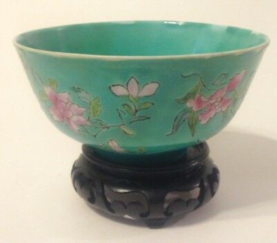 Asian Chinese porcelain Rice Bowl, Hand Painted On Porcelain Marked China