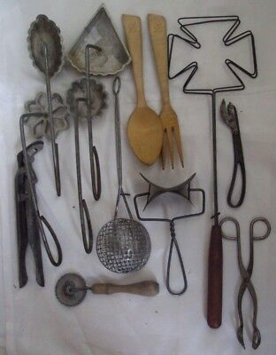 Antique Vintage Wood, iron, metal  Kitchen Utensil Lot