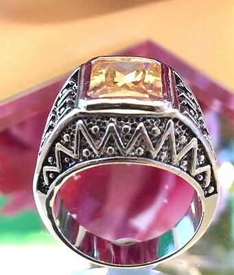 Designer Cocktail Ring Yellow Cubic Zirconia Antique Silver Size 8 r9O