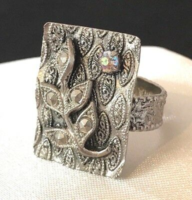 Vintage Ring Signed West Germany Silver Aurora Borealis Faux Marcasite Estate 2h