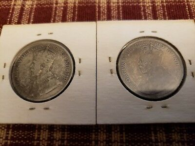 Lot Of 2 Canada Newfoundland Silver 50 Cents 1911 & 1918