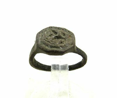 Viking Era Medieval Ring With Dragon Small Bronze Authentic Viking Made