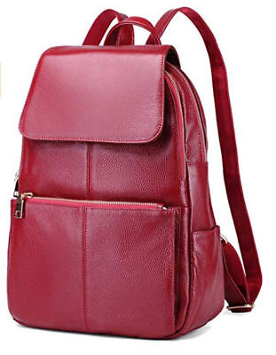 044347c0d27 Coolcy Casual Women s Brand New Real Genuine Leather Backpack   Bag   Wine  Color