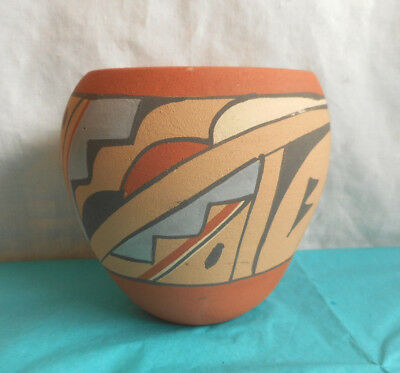 Vintage Jemez Pottery Vase Signed Chinana Native American Indian Hand Made NICE