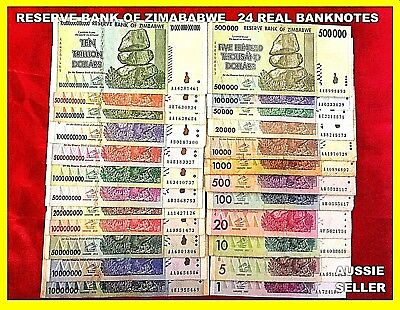 ALL 24 ZIMBABWE BANKNOTES $1 to 10 TRILLION DOLLARS CIRC/UNC INLC RARE NOTES
