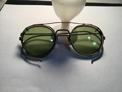 Vintage Ray Ban  Clip On Sunglasses  Green Lenses Gold Frame - P3 Shape
