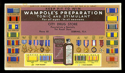 1940s WWII Sebring Florida City Drug store ink blotter ARMY Ribbons Medals