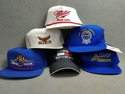 Mens Hat lot of Vintage Made in USA 80's 90's Snapback TRUCKER Hats basebal Caps