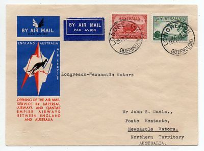 1934 Australia First Flight Cover Longreach-Newcastle Waters, Few Known