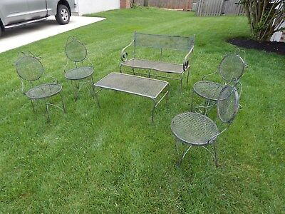 Vintage Salterini Woodard Patio Set Table Bench 4 Chairs