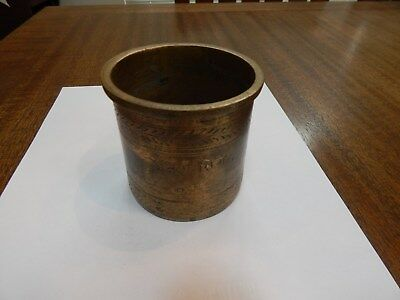 Antique Bronze Brass Ancient Brush Pot Holder Vase w/ Writing Collectible India