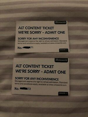 2x Cineworld Alternative Content Complementary Free Entry Tickets (No Expiry)