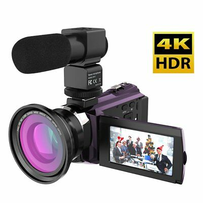 Andoer Camcorder 4K Wifi with External Microphone Wide Angle Lens Night Vision 3