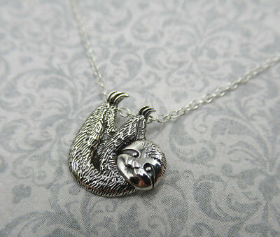 Sloth Pendant Hanging Upside Down Animal Jewelry Necklace - 925 Sterling Silver