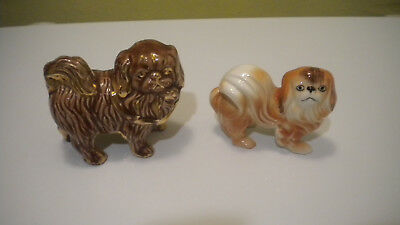 Vintage Pekingese Dog Figurines Lot of 2 One BROWN w/ GOLD ACCENT 1 Brown &White