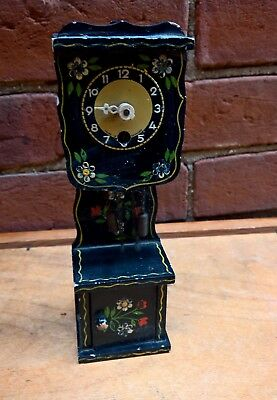 Vintage Wooden Black German  Miniature Decorated Grandfather Clock 20Cms