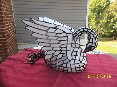 Swan Tiffany Style Stained Glass Lighted Lamp
