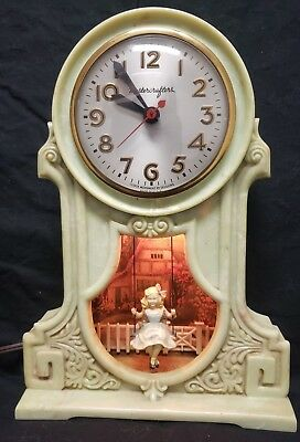 1950's Mastercrafters Swinging Girl Clock, Oiled with Long new power cord.