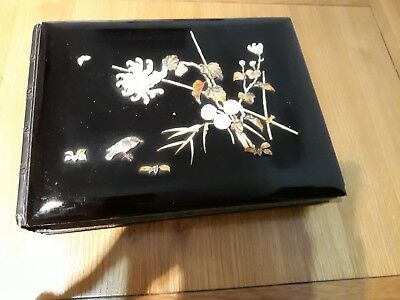 Antique japanese Meiji Period Black Laquered Photo Album With Shibayama Inlay