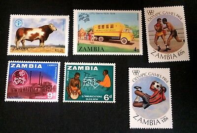 Zambia - 6 unused stamps