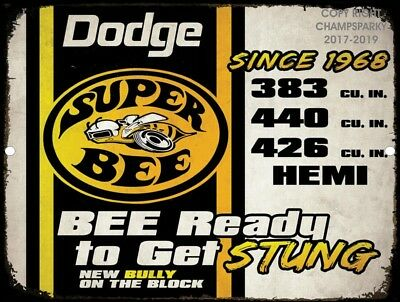 "Vintage Dodge Plymouth SUPER BEE Hemi 9""x12"" Metal Tin Aluminum Sign"