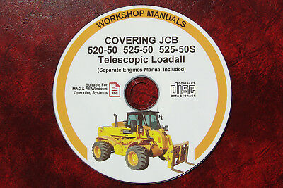 JCB 520-50 525-50 525-50s TELESCOPIC LOADALL SERVICE MANUAL (Including Engines)