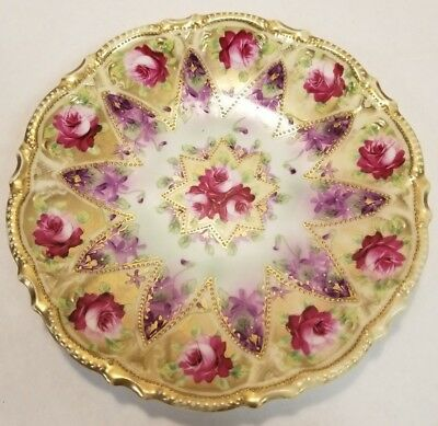 Nippon Hand Painted Dark Pink Rose and Purple Flowers with Gold Accents Plate