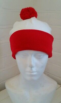 Red and white where's  wally bobble hat 1 size  unisex retro football dress up