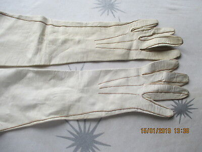 Victorian kid gloves with faux pearl buttons