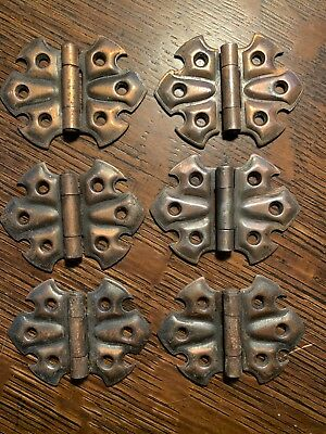 6 Vintage Stanley Sweetheart Flush Hinges Butterfly Surface Mount Japanned 3Pr