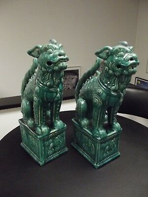 Vintage LARGE Chinese Foo Dogs Pair Turquoise Glazed Ceramic 17 In. Tall Antique