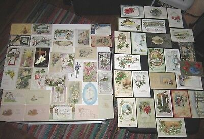 Vintage & Antique Lot of Easter & Christmas Colorful Qty 57 Postcards
