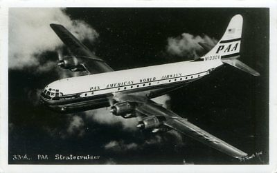 Pan American World Airways - Boeing Stratocruiser - Old Real Photo Postcard View