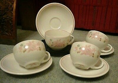 "Vintage Boots China Pottery ""hedge  Rose"" 4 Large Cups & Saucers  Flowers"