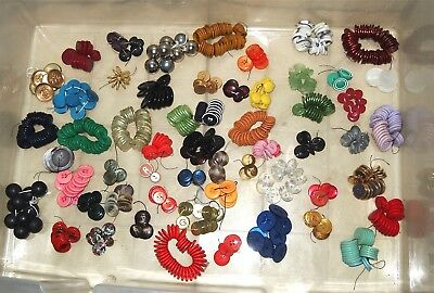 Big Lot of Vintage Buttons 2 Pounds Lbs Strung 50+ Different Plastic Celluloid ?