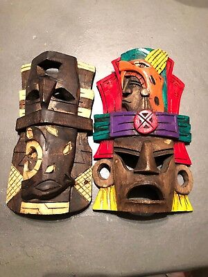 2 Mexican Folk Art Wood Carved mask