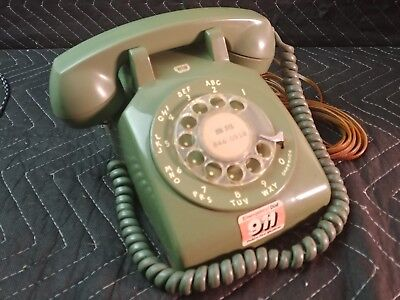 Retro Antique Vintage Western Electric Rotary Phone Olive Green In Working Order