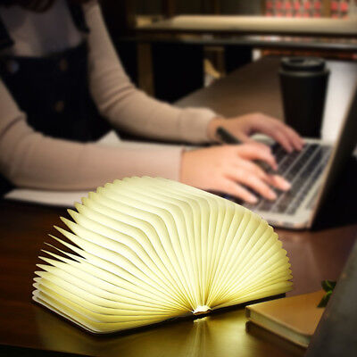 Portable USB Rechargeable LED Foldable Wooden Book Lamp Night Light Home Decor