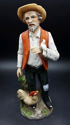Retired Vintage Homco Old Farmer with Bird and Rooster Figurine #1434